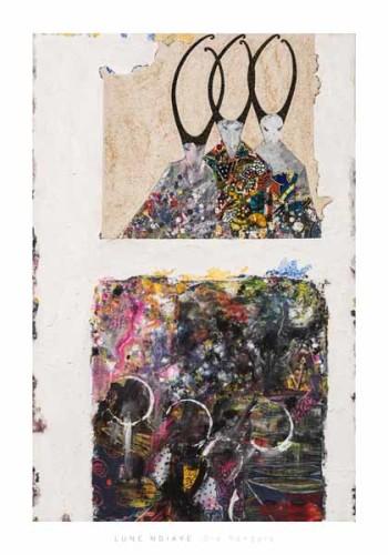 Die Pangols, 80 x 120 cm, Sand, Acryl, Textilien, Papier auf Leinwand, Shop, 1100 Euro, ABC-2